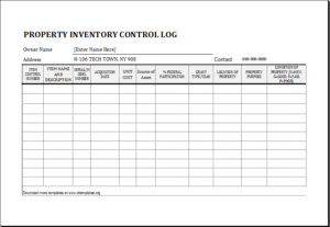 property inventory log DOWNLOAD at http://www.templateinn.com/20 ...