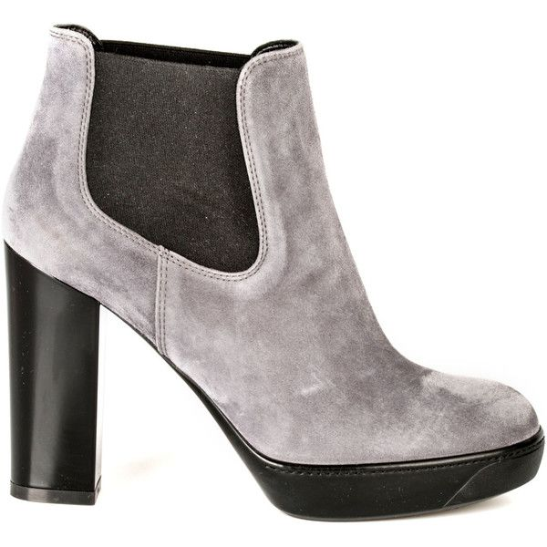 Hogan Shoes (380 CAD) ❤ liked on Polyvore featuring shoes, boots, ankle booties, grigio, gray ankle boots, short black boots, black leather boots, black booties and black leather bootie
