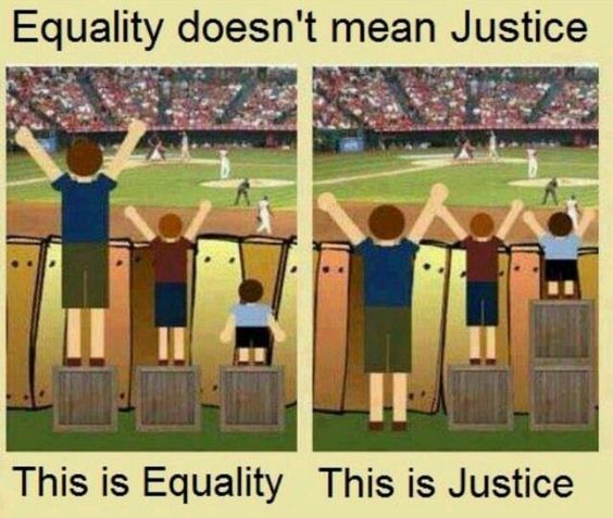 Equality is everyone getting the same thing,  Justice is everyone getting what they need to succeed. These two different terms might mean the same thing to certain people but the two are rather quite different. By everyone being able to stand on the same size box, it is seemingly equal, but because everyone in society is different and perhaps disadvantaged in their own way, the only just way to watch the game is that everyone has the same view of the game, thus justifying different size…