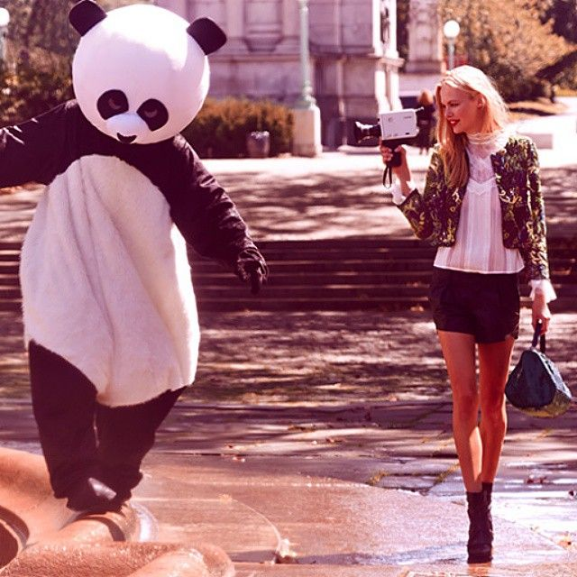 Don't Mind Me. Just Chilling With A Panda In The Lastest From @aliceandolivia #panda #fashion #nbd By Shopbop