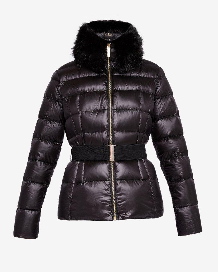 e1d4fd7350039 Faux fur collar quilted jacket - Black