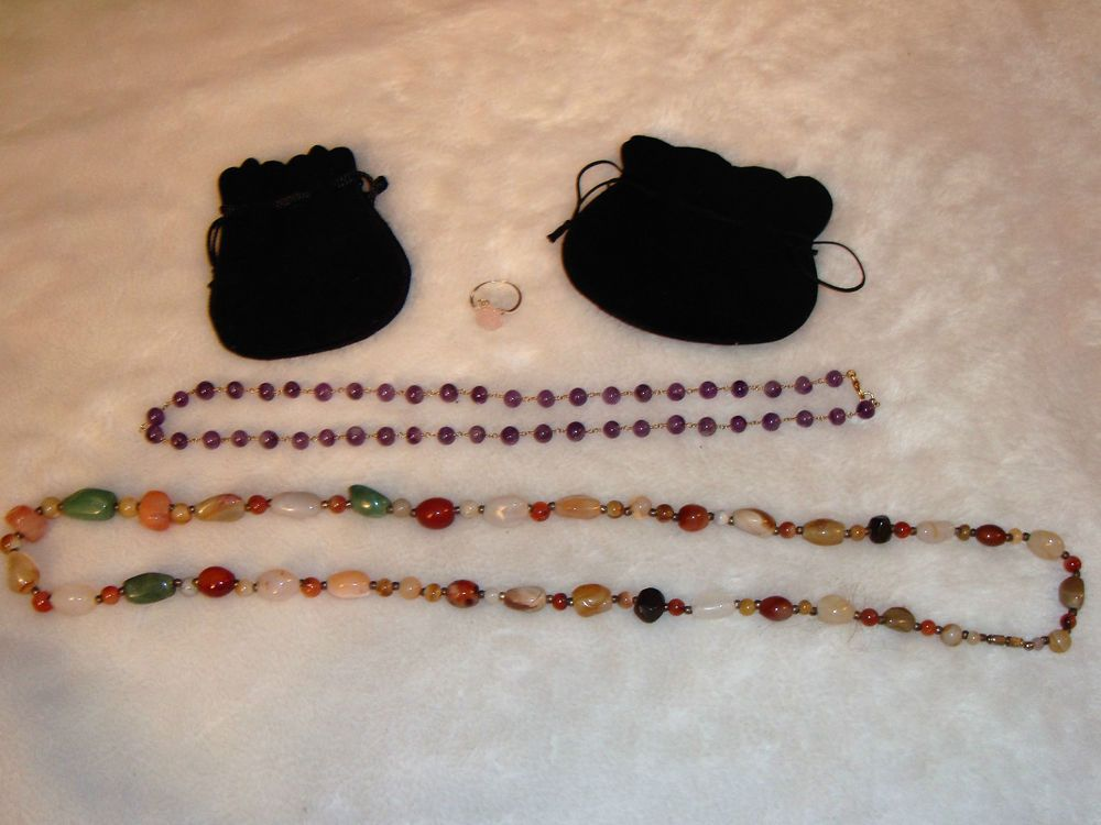 Natural Stones Jewelry Lot- Amethyst/Stones Necklaces, Rose Quartz .925 Ring #Unbranded