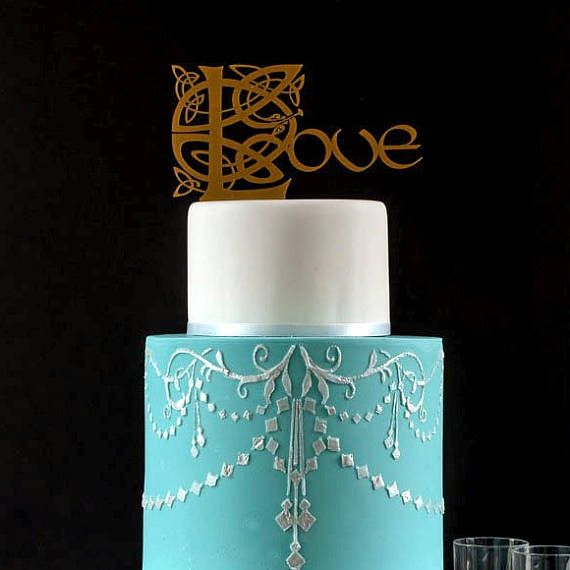 ON SALE Gold Celtic Wedding Cake Topper Irish Wedding Love | My ...