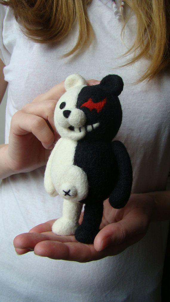 anime - Dangan Ronpa - Monokuma - Needle felting toy - Black and White - Good and Evil - cosplay - kawaii
