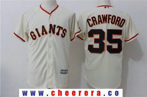 Men's San Francisco Giants #35 Brandon Crawford Name Cream Home Stitched MLB Majestic Cool Base Jersey