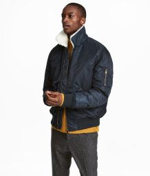 997de8983 Bomber Jacket with Pile Collar | Dark blue | MEN | H&M US | One day ...