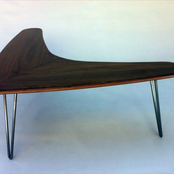 Custom Made Boomerang Coffee Table W Hairpin Legs Made Of Solid