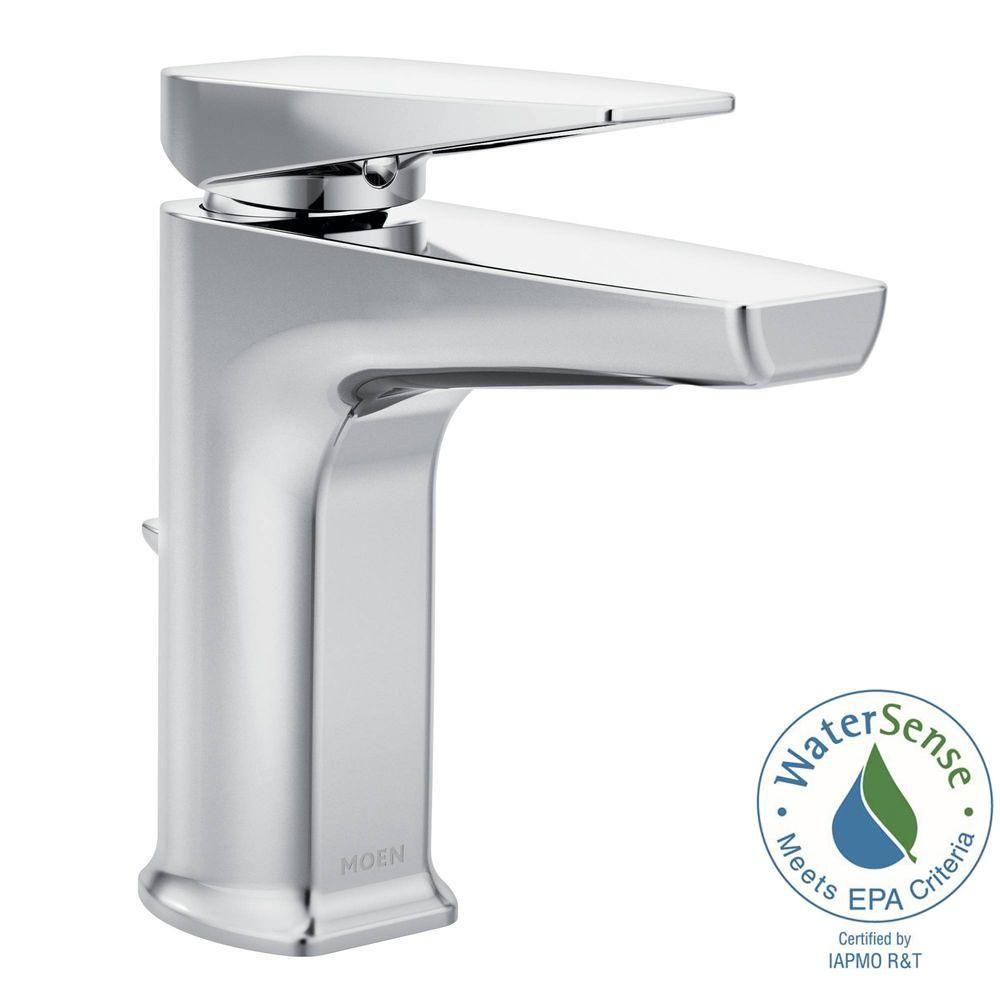 Moen Via Single Hole 1 Handle Bathroom Faucet In Chrome Grey