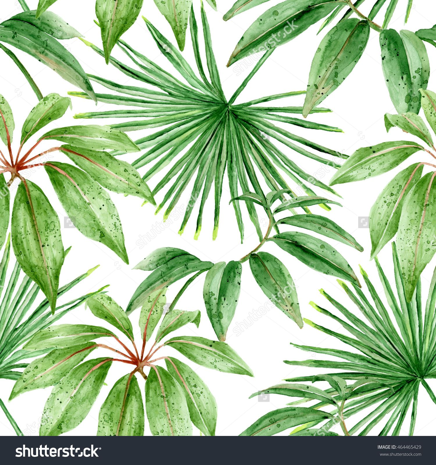 Palm leaves exotic foliage seamless hand painted watercolor pattern good texture
