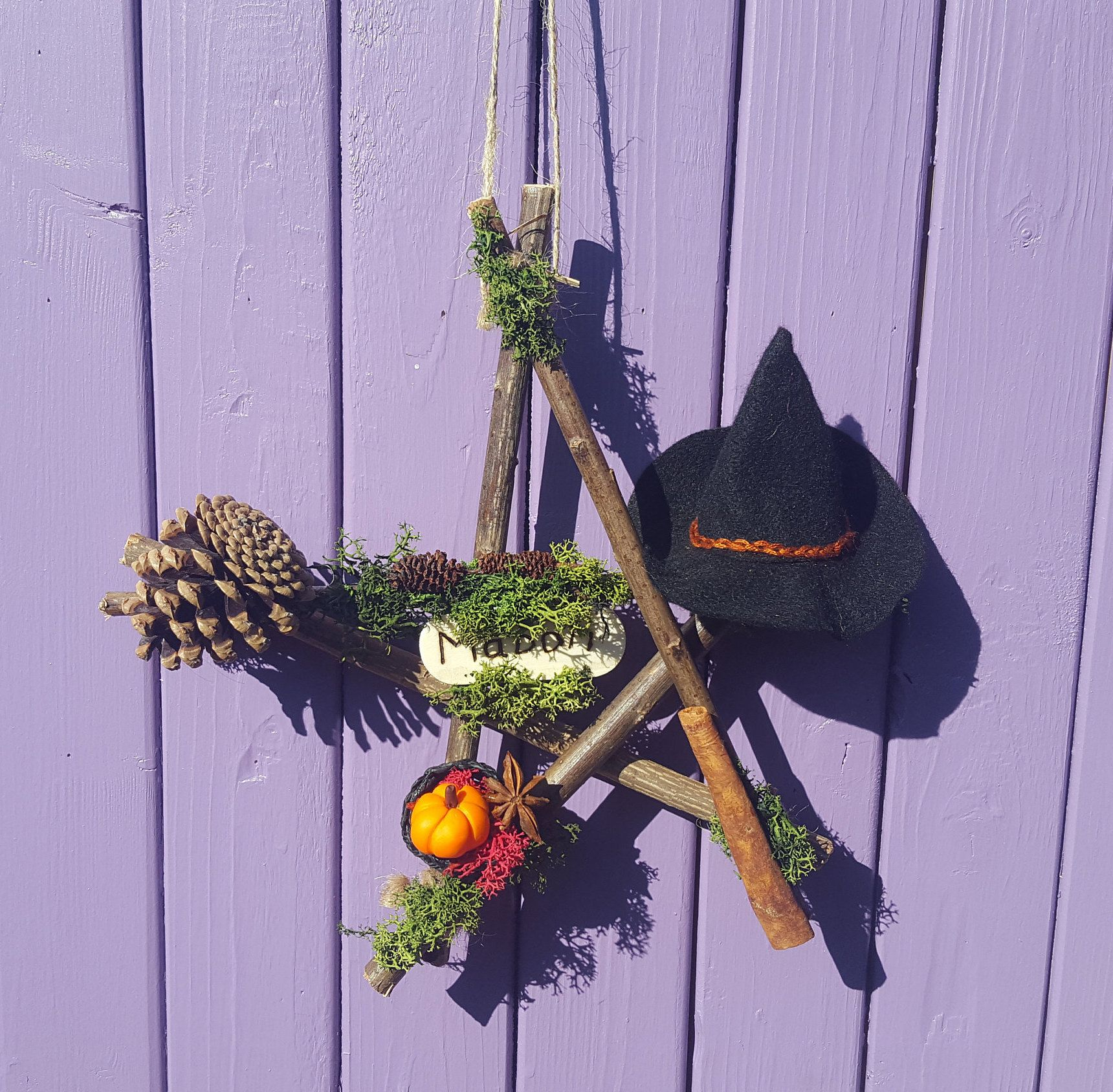 Mabon Witch Pentacle, Willow Pentagram, Witchy Felt Hat, Autumn Pine Cones, Polymer Clay Pumpkin, Harvest Basket, Autumnal Equinox, Cinnamon #autumnalequinox