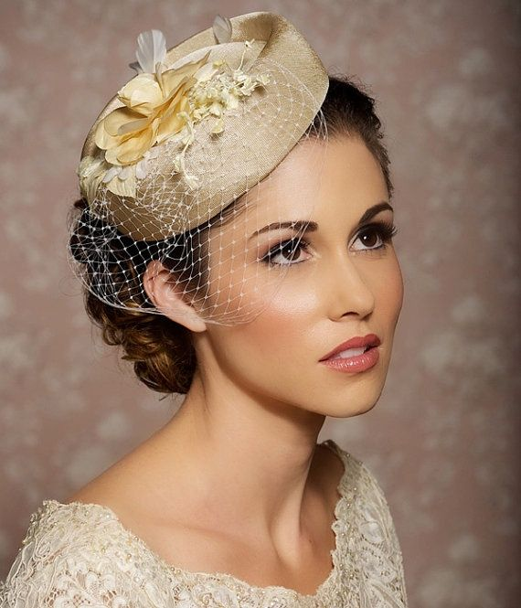 Ivory Cream Champagne Headpiece, Bridal Hat, Bridal Hair