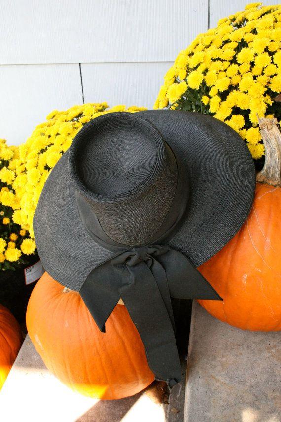 1940s Black Straw Wide Brimmed Hat Valerie Modes by YaYaRetro, $48.00