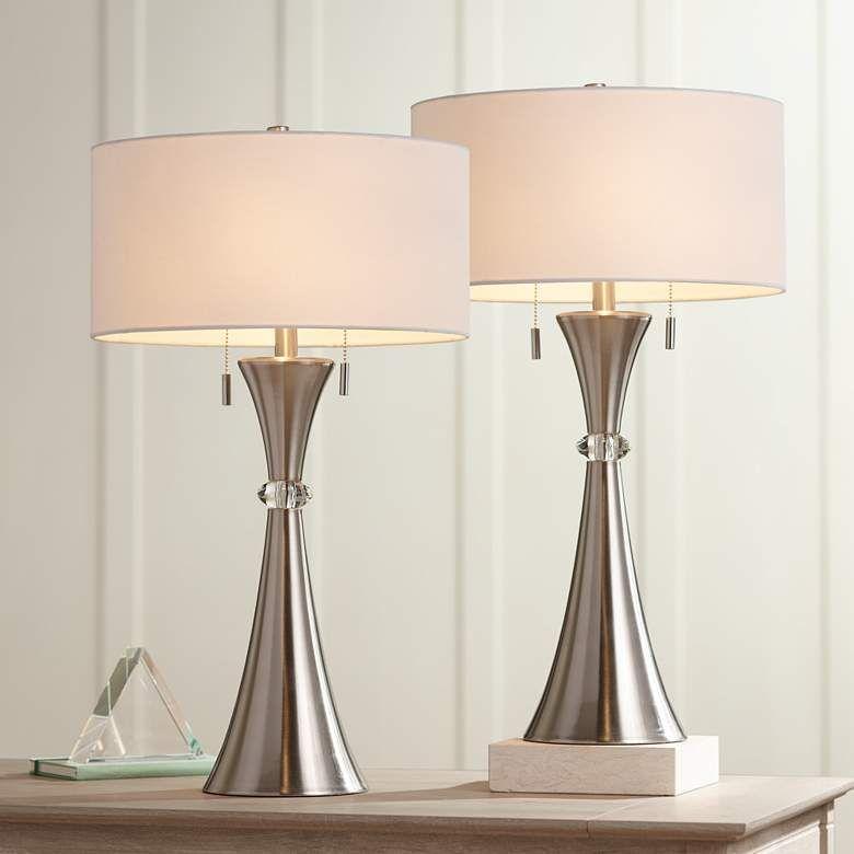 Rachel Concave Column Metal Table Lamp Set Of 2 37r80 Lamps Plus Table Lamp Sets Metal Table Lamps Modern Table Lamp