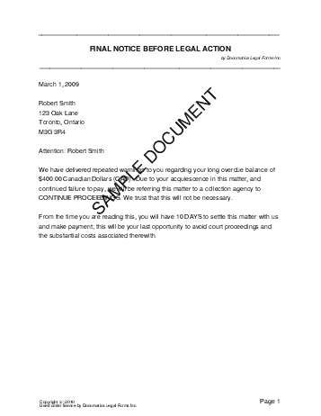 Final Legal Notice Canada Legal Templates Agreements - Free legal documents templates