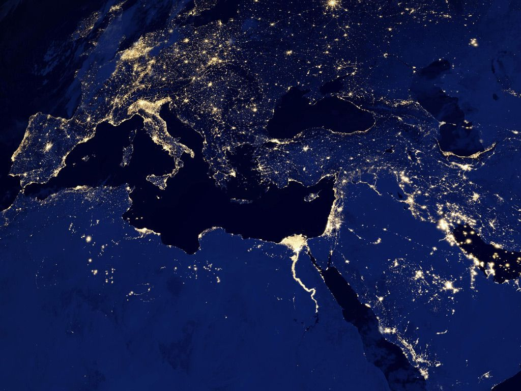 Composite images of europe asia and africa at night taken from a the earth at night nasa earth observatorys black marble images gumiabroncs Choice Image