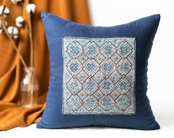 Pillowcases 18x18 | Blue Pillow Covers, Geometric Pillow Cases