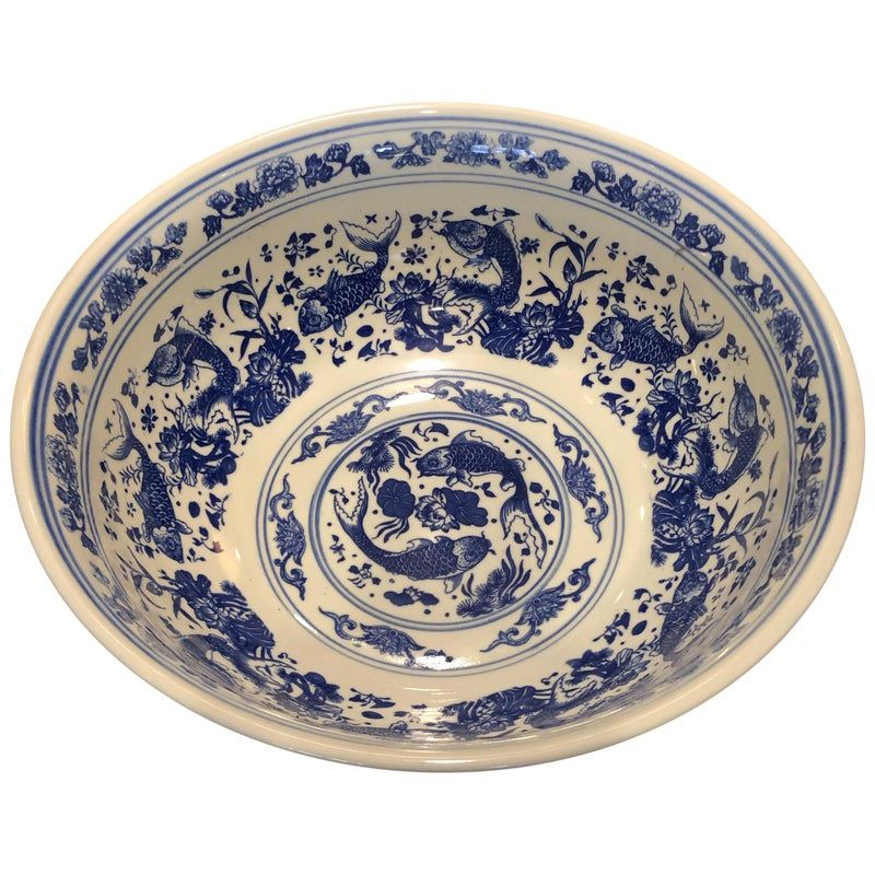 Chinese Large Blue And White Punch Bowl Modern Decorative Bowls Punch Bowls Dragon Bowl