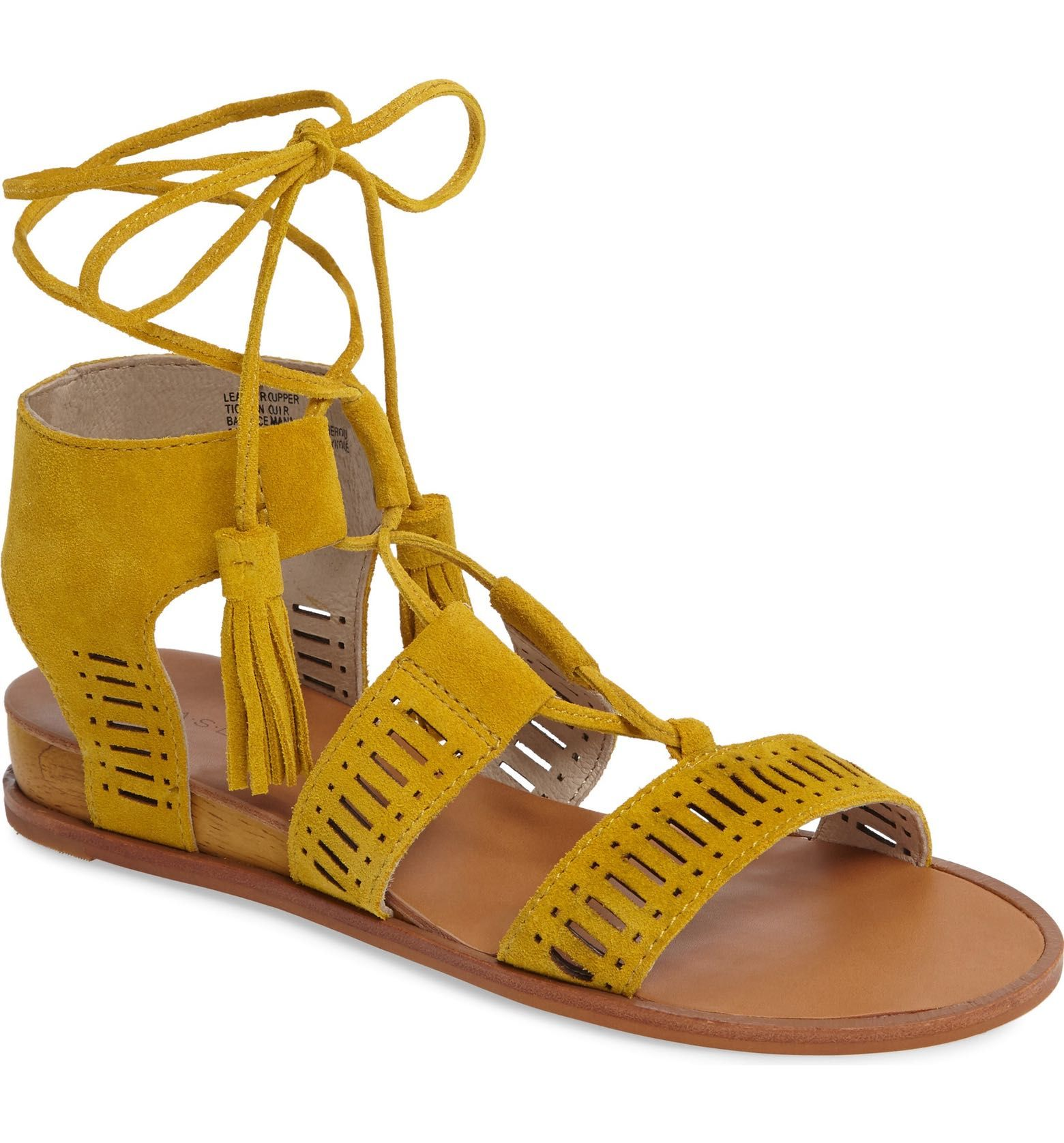 Caslon - Gilda Sandal in mustard yellow suede (Women) | starting in size 4