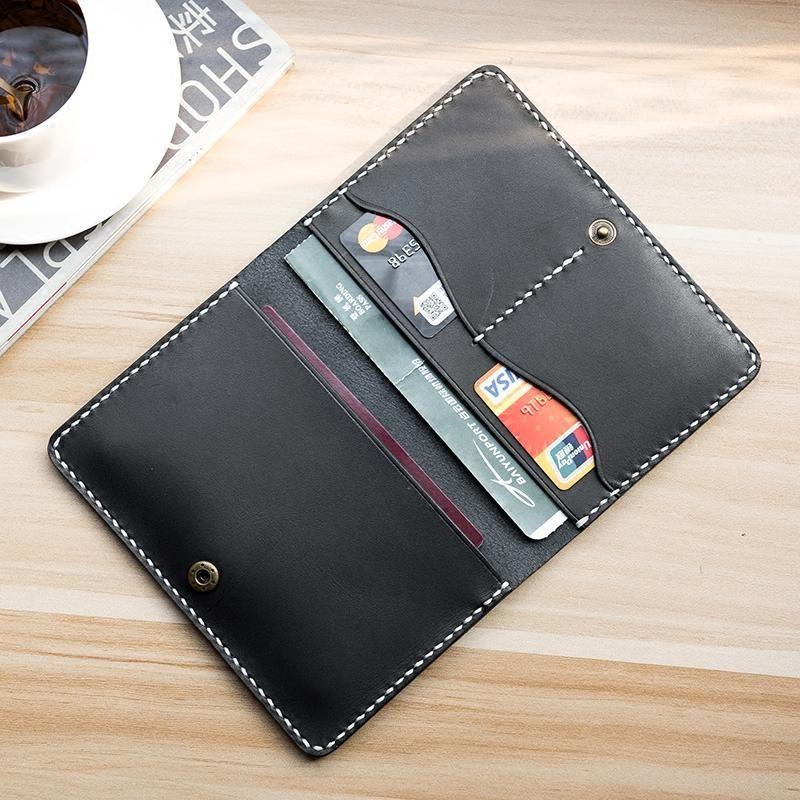Handmade leather mens travel wallet passport leather