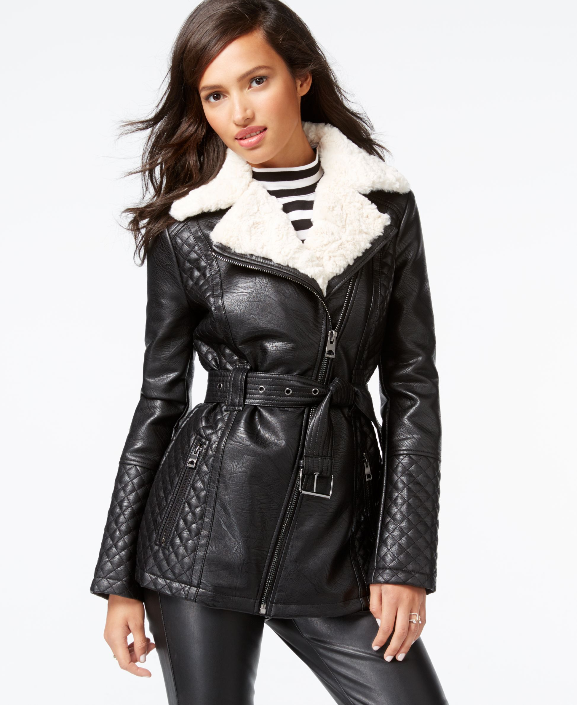 57ce0a8eeb Guess Faux-Fur-Collar Quilted Faux-Leather Jacket | Womens in 2019 ...