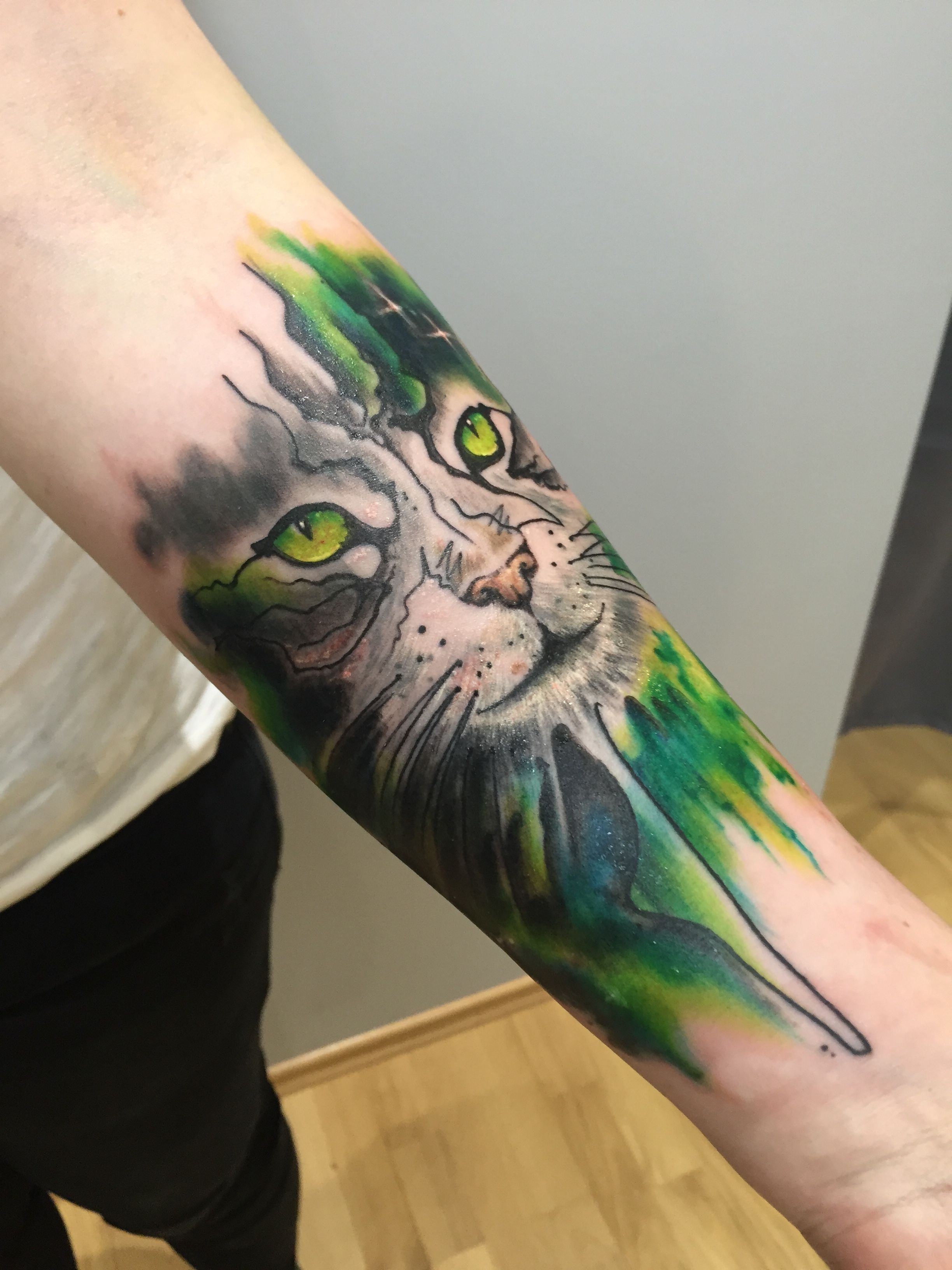 Watercolored Cat Portrait Composition In Green And Dark Green