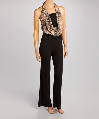 Taupe & Black Snake Halter Jumpsuit by Love Point