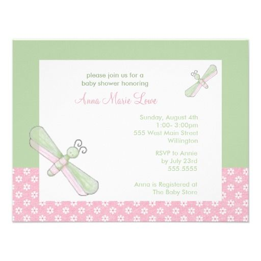 Dragonfly baby shower invitations in pink green baby shower dragonfly baby shower invitations in pink green filmwisefo Images