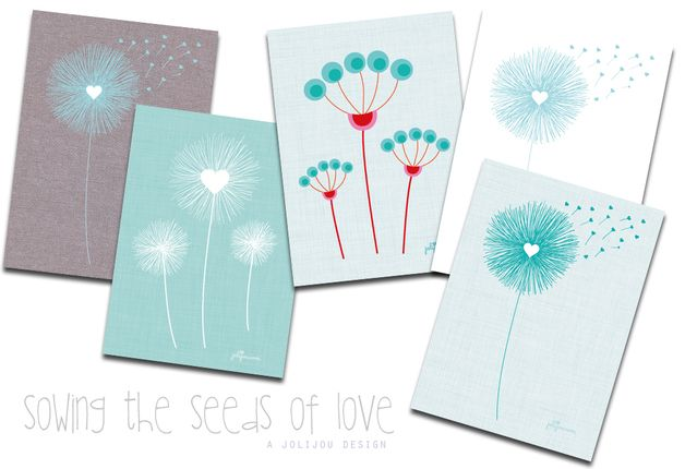 SOWING LOVE Pusteblumen white Postkarten 5er Set