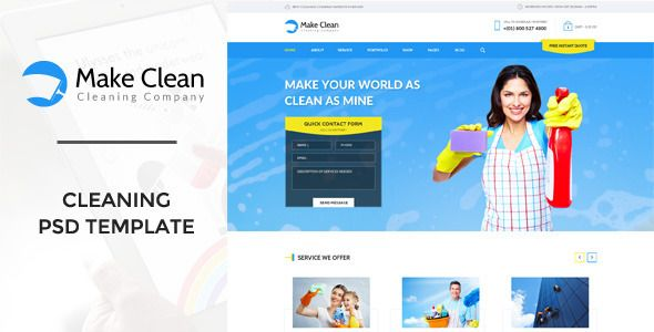Make clean cleaning company psd template psd templates template make clean cleaning company psd template flashek Choice Image