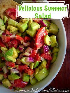 Tomato, Avocado, Cucumber, and Red Onion Salad.