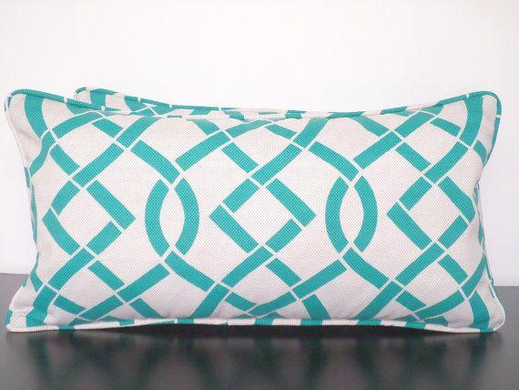 Blue Pillow Cover 18x18 Geometric Print Linear Pillow Case Modern