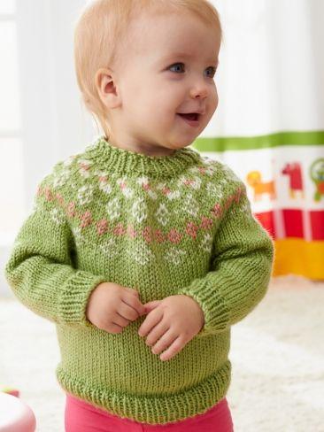 Girls' Garden Flowers Fair Isle Yoke Sweater | Yarn | Free ...