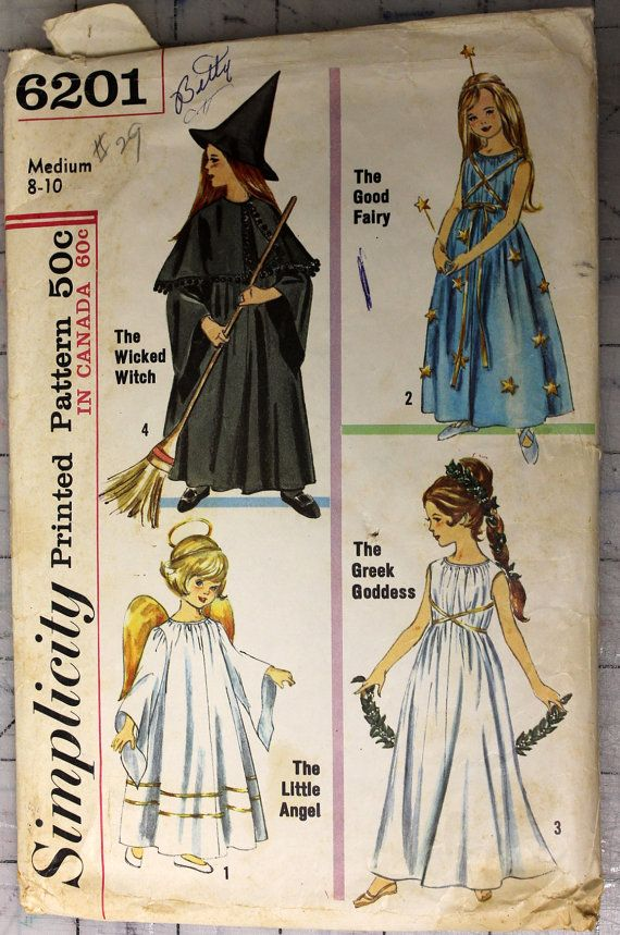 Vintage Simplicity 6201 - 1965 Girl\'s Angel Fairy Witch and Goddess ...
