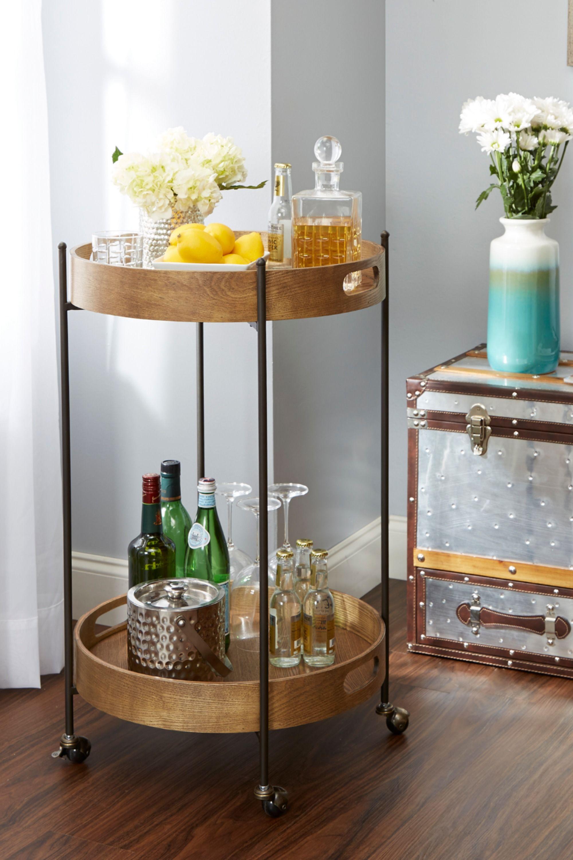 Round Wooden Bar Cart In 2020 Bar Cart Decor Bar Furniture Gold Bar Cart