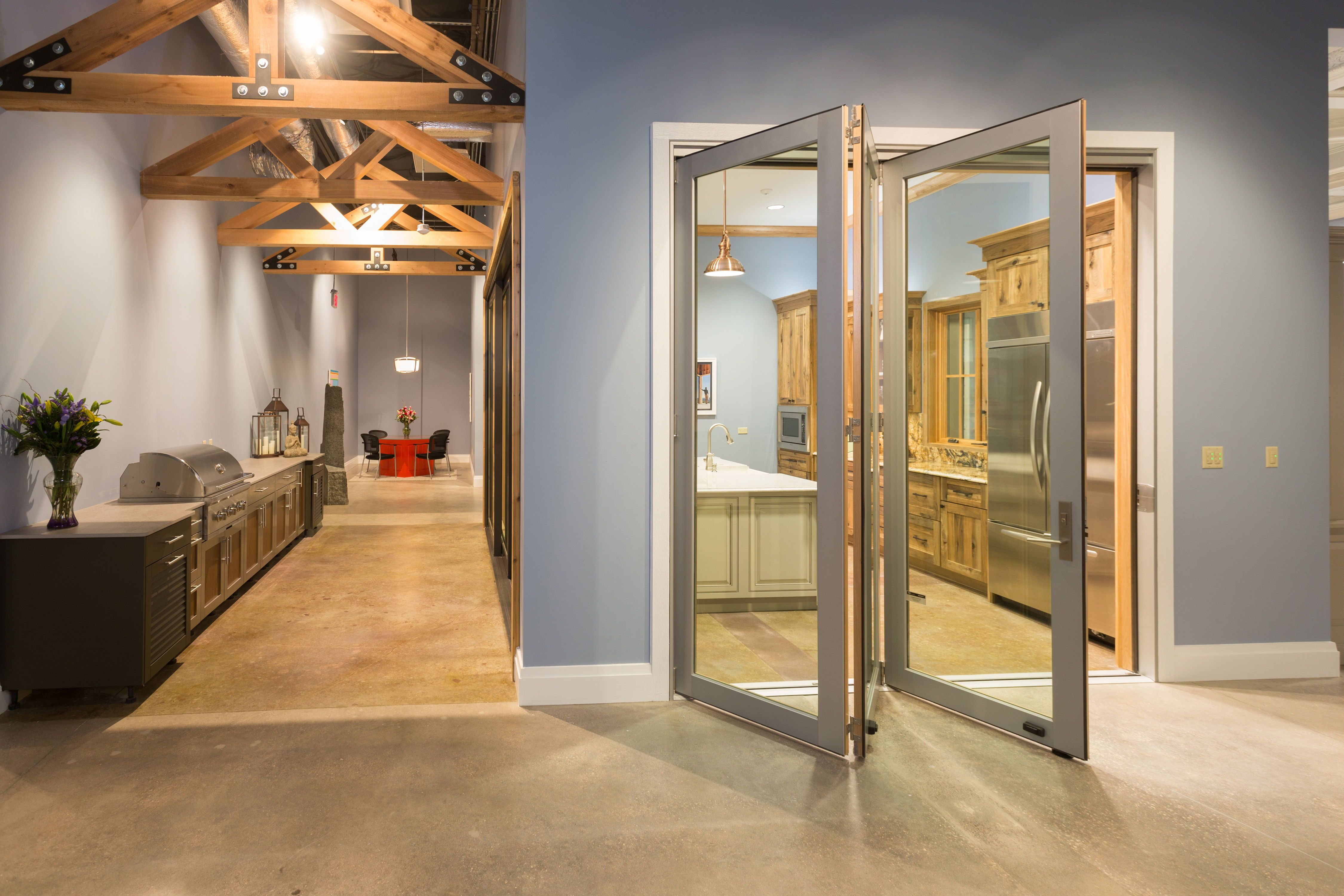 Folding Exterior Door Inspiration Bmc Design Center Folding Doors Exterior Home Design Magazines Showroom Design