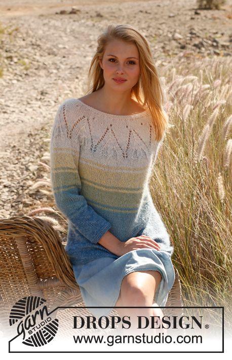 "Strikket DROPS genser i ""Baby Alpaca Silk"" og ""Kid-Silk"" med striper, rundfelling og ¾-lange ermer. Str S - XXXL. ~ DROPS Design"