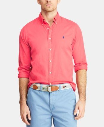 d08b9682 Polo Ralph Lauren Men's Classic Fit Garment-Dyed Twill Shirt - Cactus  Flower 2XL