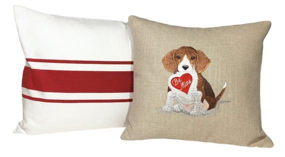 Beagle Dog Pillow Dog Lover Gift Embroidered Dog Art Dog Lover Throw Pillow Dog Pillow Cover Baby Sh