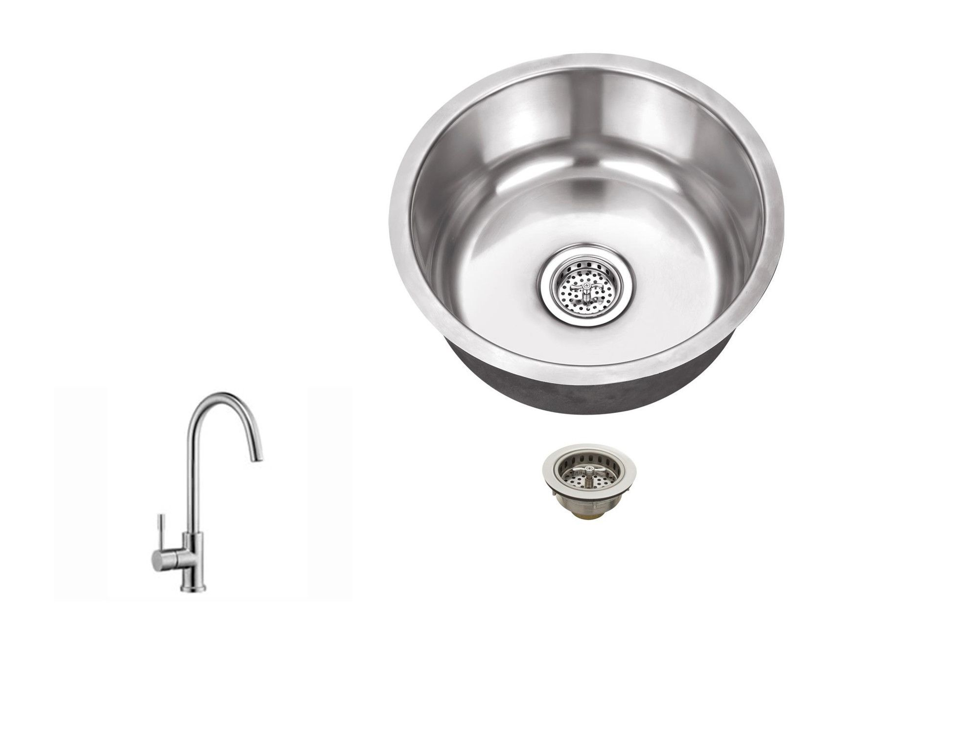 "17.13"" X 17.13"" 18 Gauge Single Bowl Round Bar Sink with Faucet"