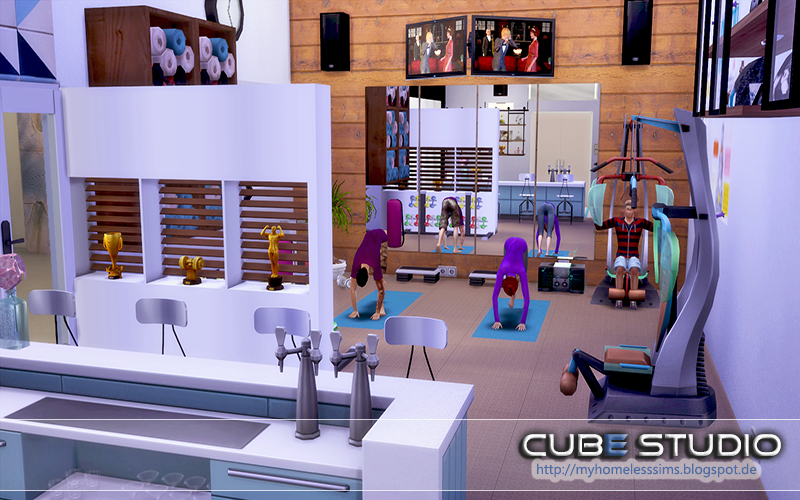 From the lot quot cube studio fitness room my sims hobby