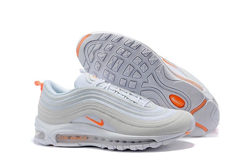 best loved 1397d 65a5c Discount Nike Air Max 97 Resistant Breathable Sneakers Pure Platinum Team  Orange-White BV1985-002
