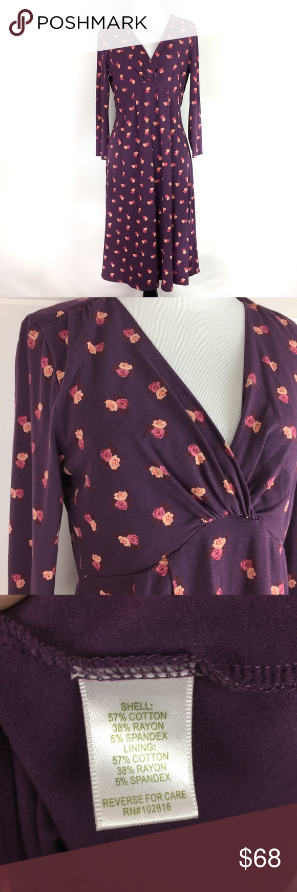 """Garnet Hill Purple Floral V-Neck 3/4 Sleeve Dress •Garnet Hill Purple Floral V-Neck 3/4 Sleeve Dress •Women's Size XS •In excellent used condition •57% cotton/ 38% rayon/ 5% spandex •All measurements are approximate: 39"""" length, 13"""" sleeve length, 18"""" across chest, 18"""" across waist, 24"""" across hips Garnet Hill Dresses"""