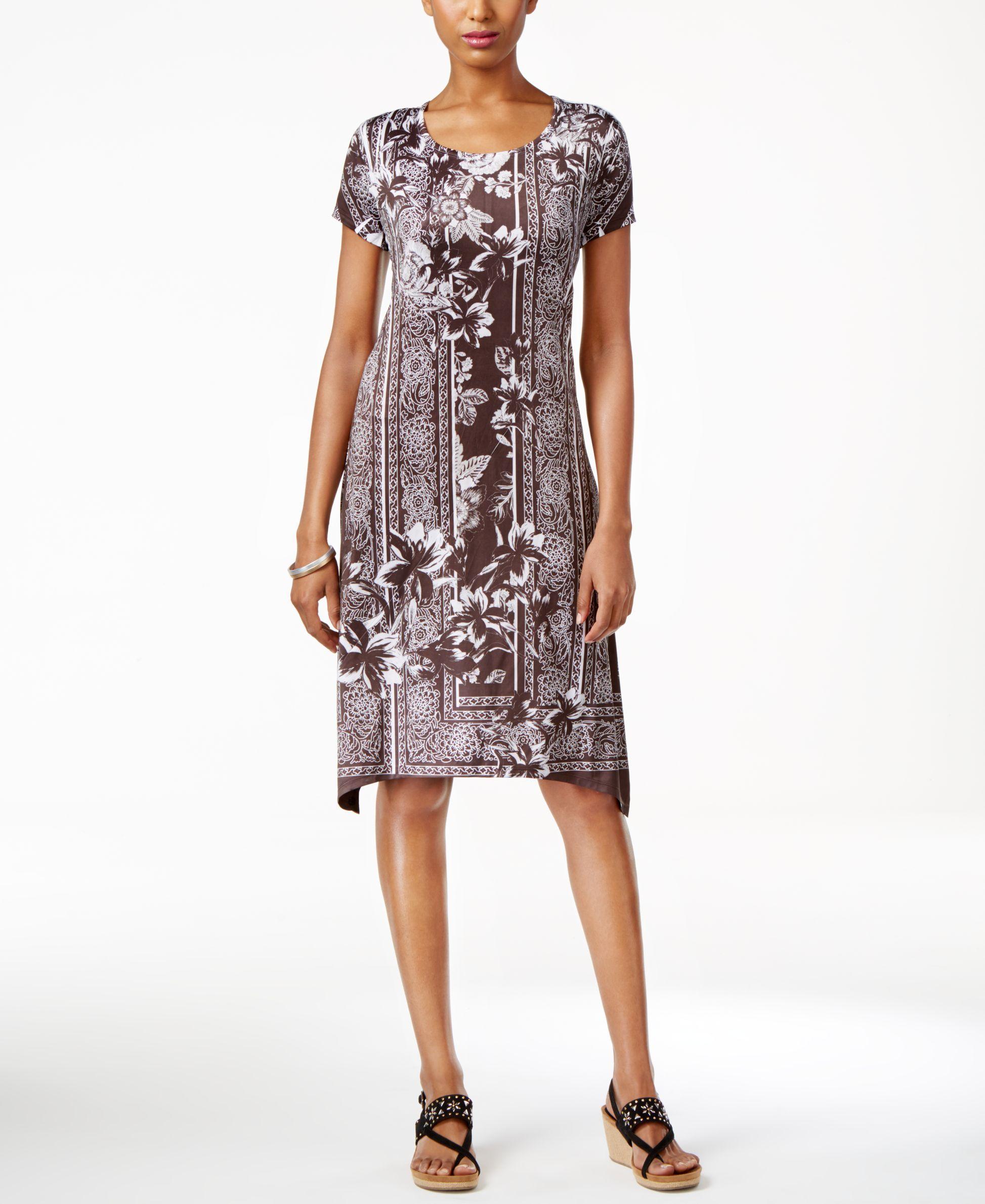 be4b55713a67e Style & Co Petite Printed Cap-Sleeve Swing Dress, Created for Macy's -  Dresses - Petites - Macy's