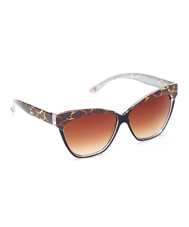 Another great find on #zulily! Brown Cheetah Cat-Eye Sunglasses #zulilyfinds