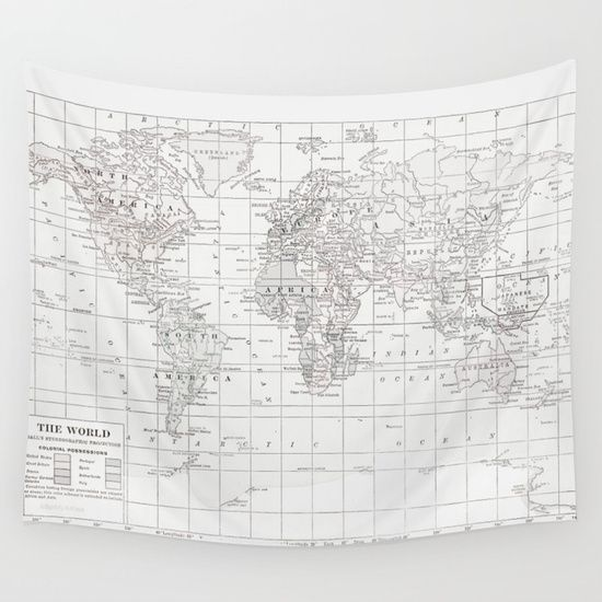 This map has a slight grey cast to it<br/> Vintage World Map<br/> Minimalist White<br/> Gray, grey