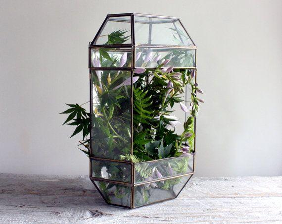 Large Vintage Glass And Mirror Terrarium Bloom Budding Romances