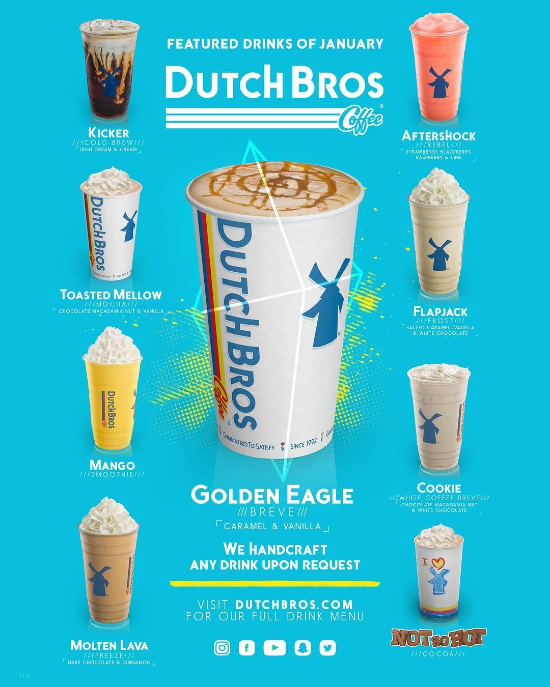 Happy New Year Everyone Here Are January S Featured Drinks Dutchbros Coffee Dbcanby Featureddrinks Dutch Bros Drinks Dutch Bros Secret Menu Dutch Bros