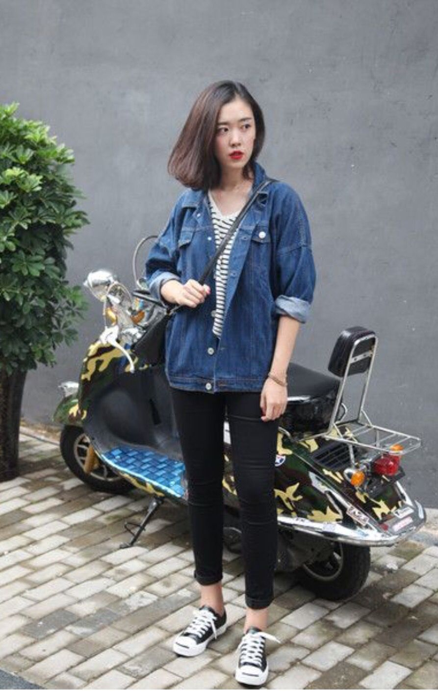 015049ef554f casual fall outfit. striped tee under denim oversized shirt and black  pants leggings and black converse