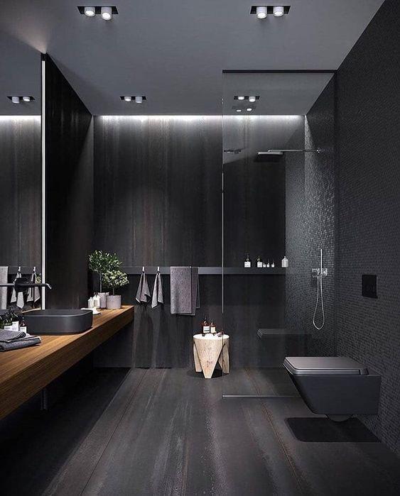 13 Dreamy Bathroom Lighting Ideas: #Black #bathroom #interiordesign