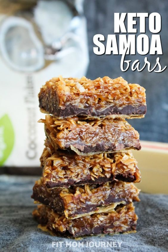 Keto Samoa Bars (THM:S, Low Carb, Ketogenic, Sugar-Free) #ketodesserts